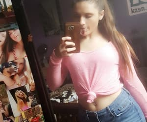 belly button ring, pink, and sweater image