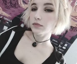 blonde, short hair, and chest image