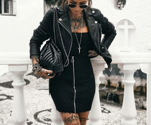 black, metal, and outfit image