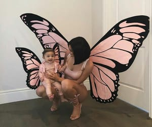 kylie jenner, stormi, and butterfly image