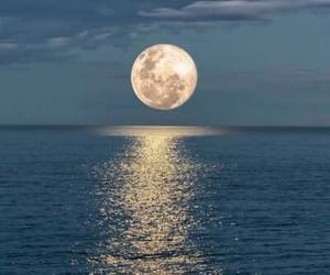 moon, ocean, and nature image