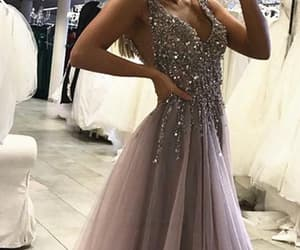 prom dress, long prom dress, and silver prom dress image