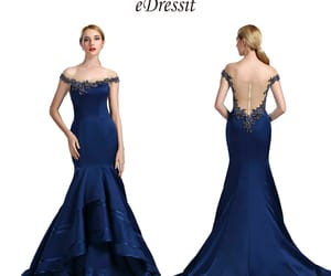 navy blue, mermaid prom dress, and beaded evening gown image