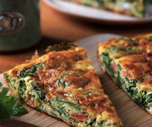 food, pizza, and spinach image