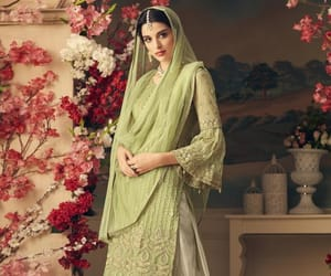 palazzo salwar suit, designer palazzo suit, and partywear palazzo suit image