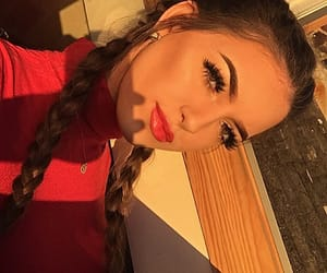 girl, lashes, and golden hour image