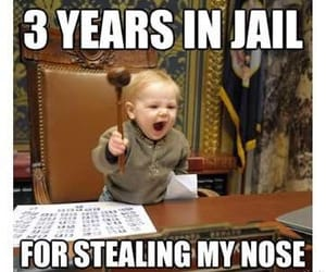 funny, baby, and jail image