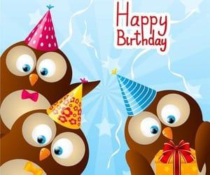 happy birthday and hibou image