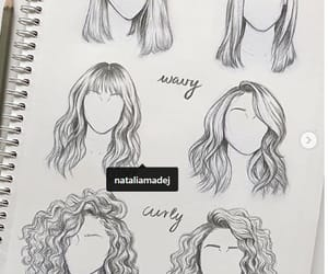 hair, curly, and drawing image