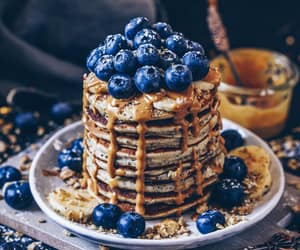 pancakes, blueberries, and cake image