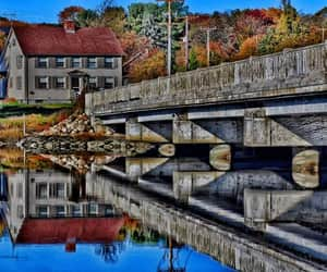 bridge, fall foliage, and colorful image