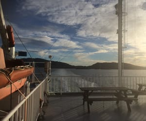bench, ferry, and norway image