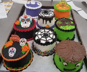 cakes, pumpkins, and spiders image
