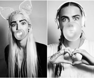 black and white, models, and cara delevingne image