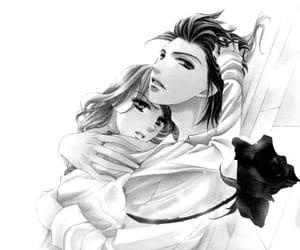couple, monochrome, and manga image