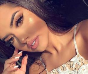 brunette, lips, and make up image