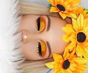 yellow, sunflower, and makeup image