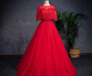 tassel, formal dresses, and red prom dress image