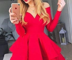 red homecoming dress, homecoming dress short, and homecoming dress simple image