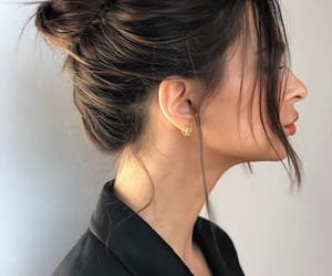 brunette, hair, and updo image