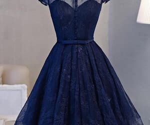 a-line prom dress, navy blue prom dress, and prom dress lace image