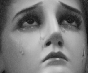 beautiful, black and white, and crying image