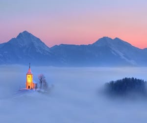 mountains, fog, and church image