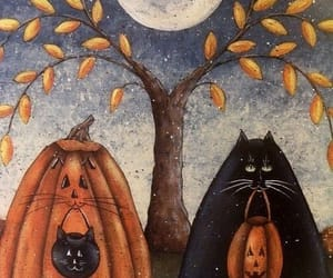cats, Halloween, and moon image