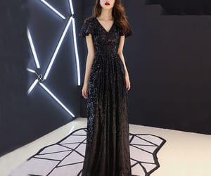black dress, evening dress, and girl image