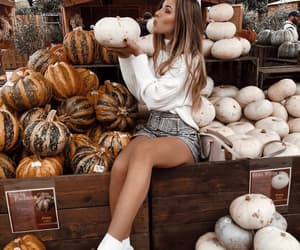 autumn, fashion, and pumpkins image
