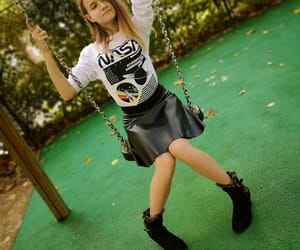 autumn, girl, and swing image