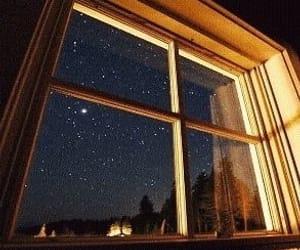 stars, window, and night image