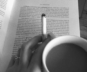 black and white, book, and cigarette image