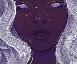 art, stars, and galaxy image