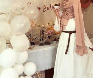 birthday party, fashion, and hijab image