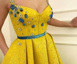 dress, yellow, and flowers image