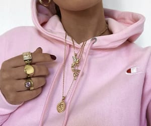 hoodie, necklace, and pink image