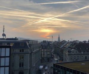 city, morning, and sunrise image