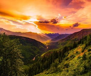 mountain, nature, and sunset image