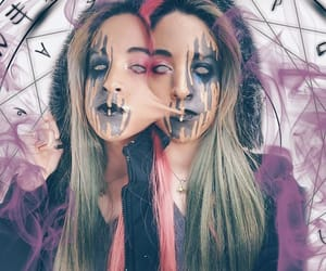 blue hair, pink hair, and psicodelik color image