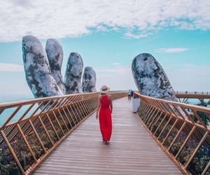 red dress, Vietnam, and backpacker image