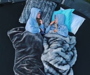 best friends, cozy, and outdoors image