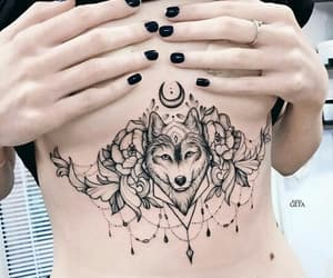 black, chest tattoo, and tattoo image