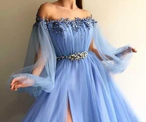 blue evening dress, a-line evening dress, and prom dresses with sleeves image