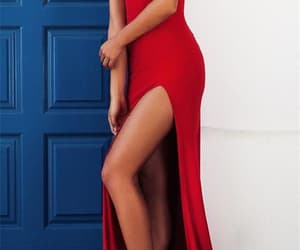 red evening dresses, sleeveless prom dress, and 2018 prom dress image