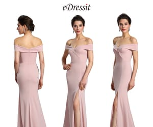 bridesmaid dress, off-shoulder, and sexy split image