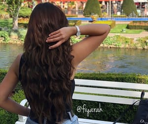 fashion style, long curly hair, and hairstyle brown image