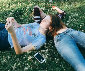 aesthetic, grass, and denim image