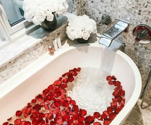 flowers, rose, and bathroom image