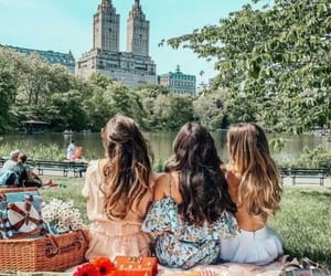 friends, girl, and picnic image